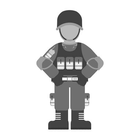chemical warfare: Military contour with its different protection tools icon image, vector illustration