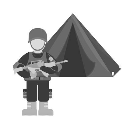 marksman: Military contour with his war team and his camp, vector illustration design