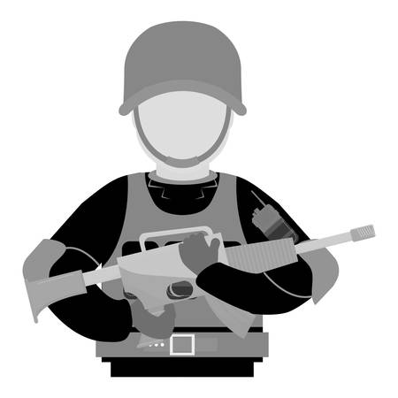 chemical warfare: Military contour with his gun and equipment protection image, vector illustration