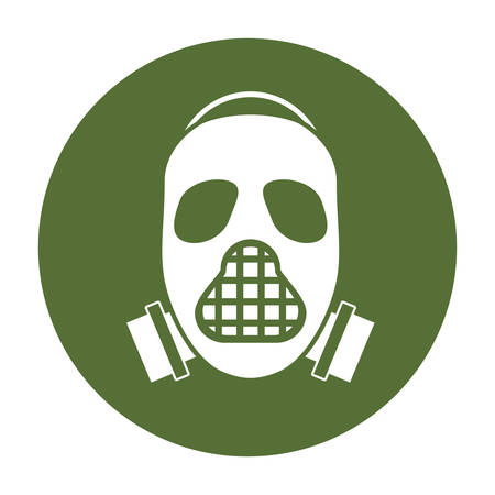 Mask badge of military protection icon image, vector illustration