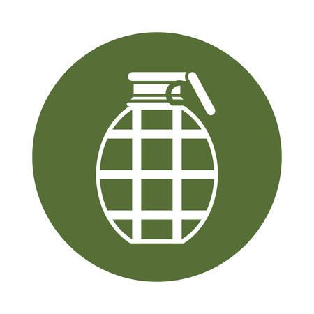 Badge grenade military equipment icon image vector illustration