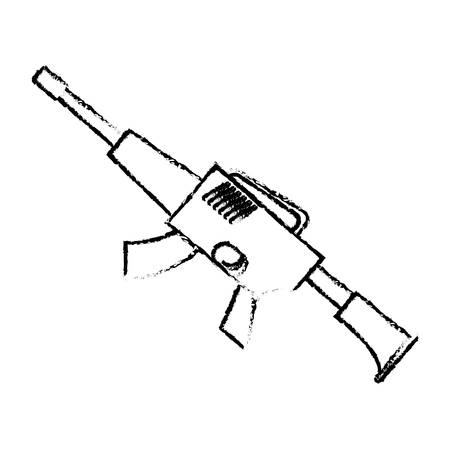 War rifle silhouette for soldiers navy tool, vector illustration Illustration