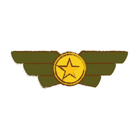 Emblem gold and green that showing military rank, vector illustration