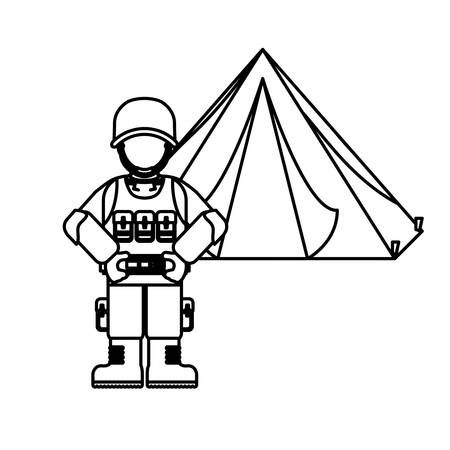 Military figure with his war team and his camp, vector illustration design Illustration
