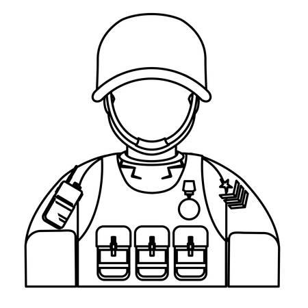 marksman: Figure ranking military man with his team, vector illustration design Illustration