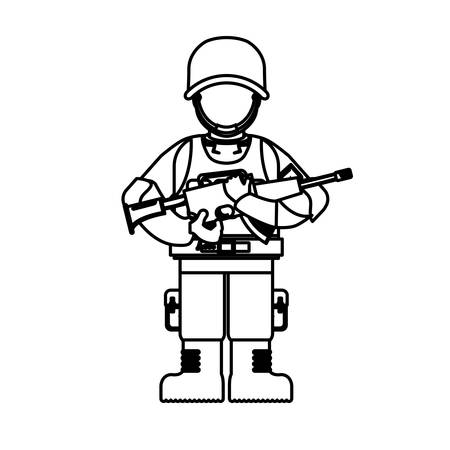 Military figure with its different protection tools and his gun, vector illustration