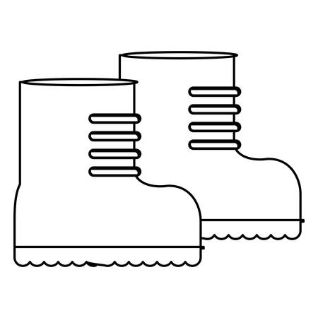 foot soldier: Boots figure for equipment military protection, vector illustration