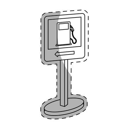 White Symbol of gas station near icon, vector illustration Illustration