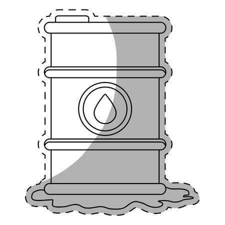 steel drum: White petroleum of barrel with spilled oil, vector illustration design Illustration