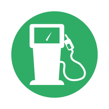 Signal gas pump with a gauge near, vector illustration icon Illustration