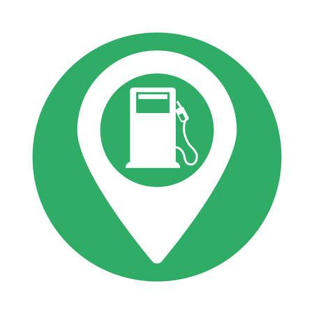 Green signal of gas pump near, vector illustration icon