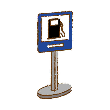 Blue symbol of gas station near icon, vector illustration Illustration