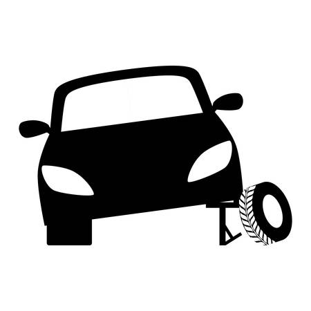 Black tire being placed in the car, vector illustration