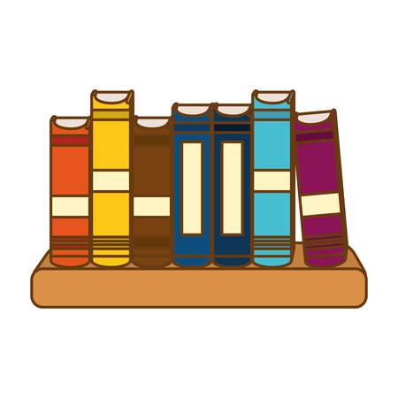 ledge: Color educational books on a ledge image, vector illustration Illustration