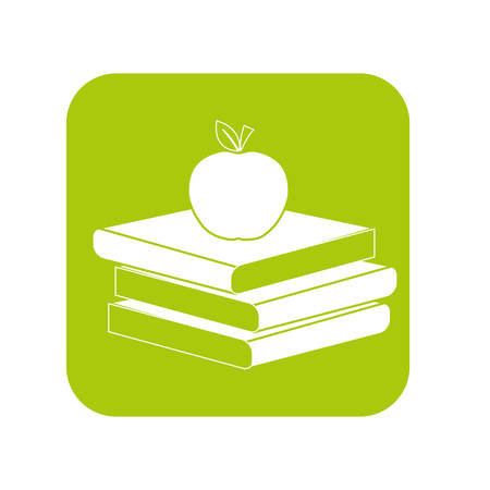 Contour books with red apple on top image, vector illustration Illustration