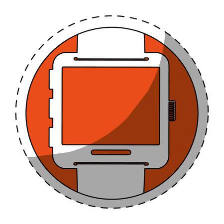 Orange symbol smartwatch button icon image, vector illustration
