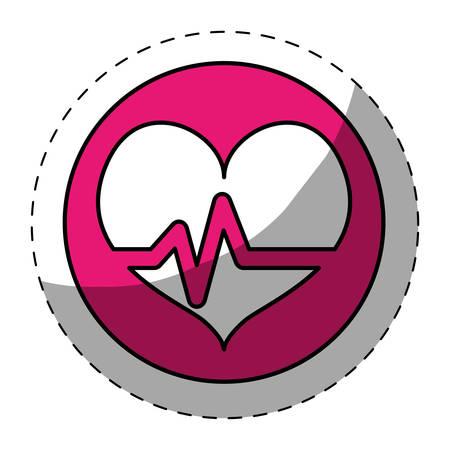 Fucsia escuchó cardiología médica botón de imagen, ilustración vectorial Foto de archivo - 70282534