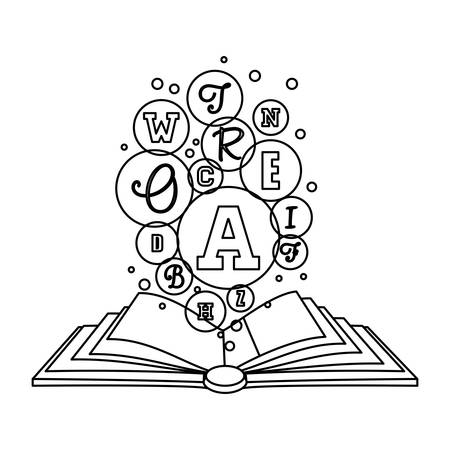 Figure book open to knowledge image, vector illustration