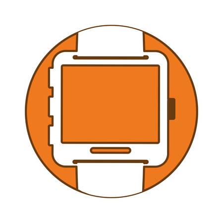 Orange symbol smartwatch button image icon, vector illustration Illustration