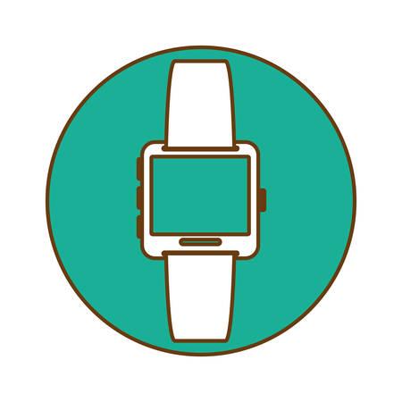 timekeeping: Blue symbol smartwatch button icon image, vector illustration Illustration
