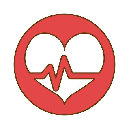 Red heard cardiology medical button image, vector illustration