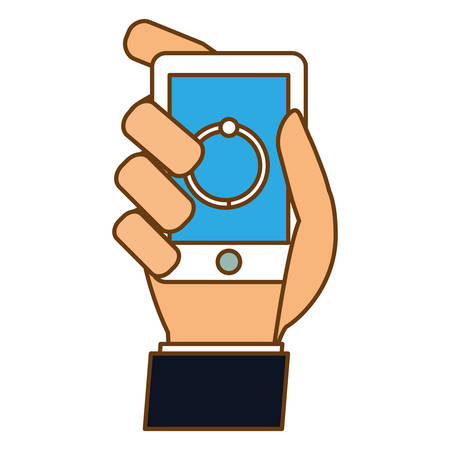 Color smartphone in the hand loading icon design, vector illustration