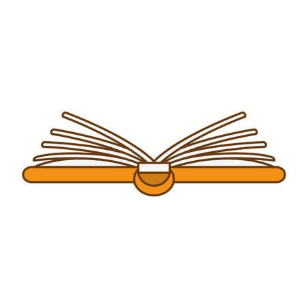 Orange notebook fully open image, vector illustration