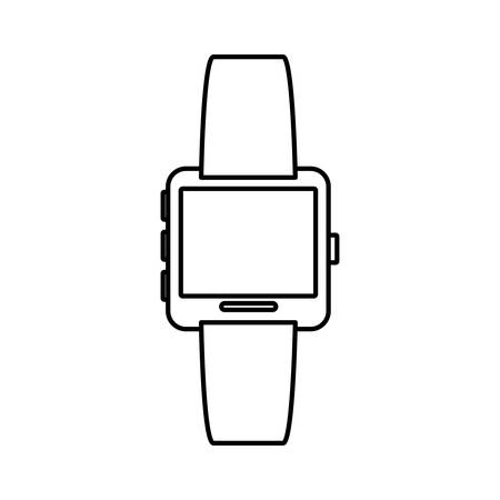 White symbol smartwatch button icon image, vector illustration