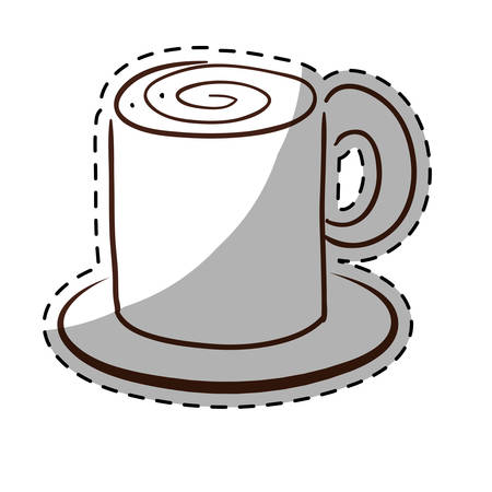 brewed: White coffe cuppa with saucer icon, vector illustration image