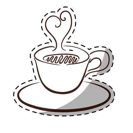 White small cup with steam and saucer, vector illustration