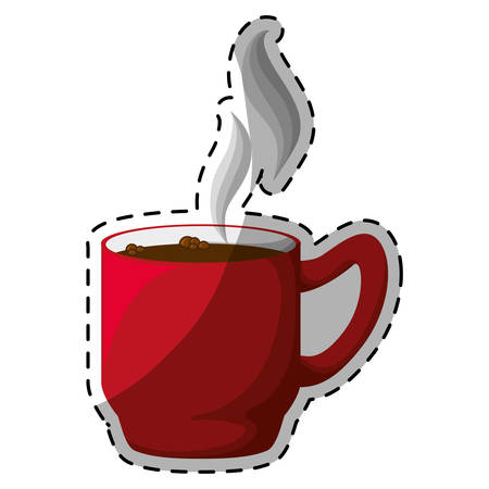 Red coffee cuppa with steam design, vector illustration Illustration
