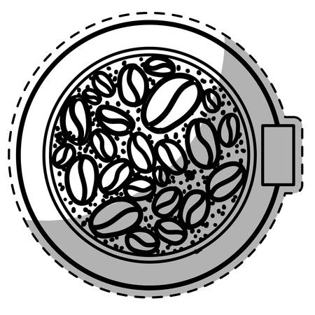 bean family: Figure plate with grains coffee inside, vector illustration icon