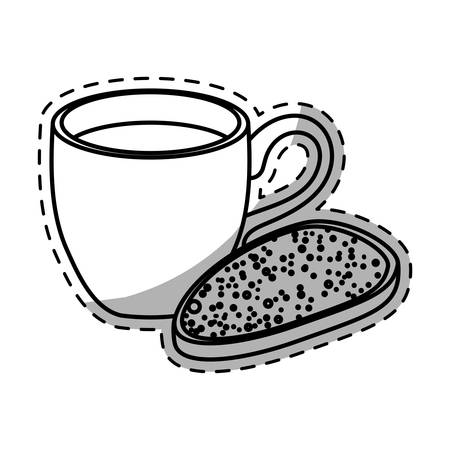 Figure coffee cup with bread icon image, vector illustration Illustration