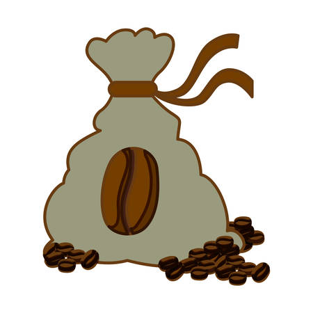 Color coffee sack with coffee grains, vector illustration image