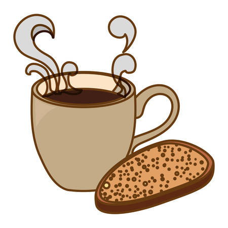 Beige coffee cup with steam and bread icon, vector illustration