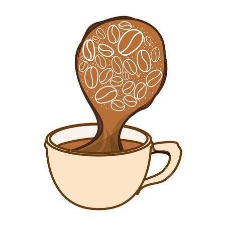 Color cup steam with grain coffee icon, vector illustration Illustration