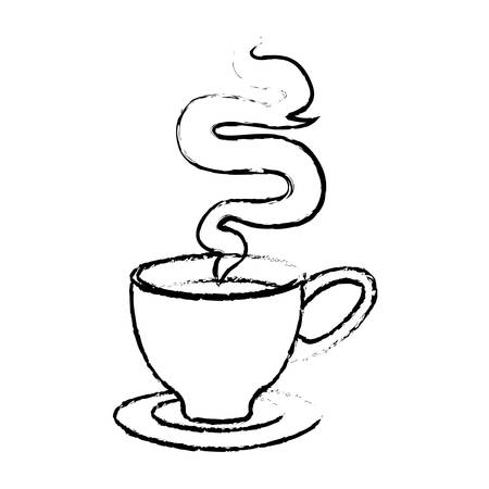 Contour small cup with steam design icon, vector illustration