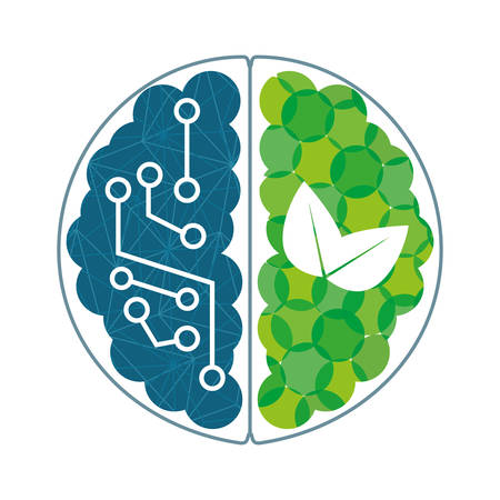 Brain with blue circuits and green plants icon, vector illustration