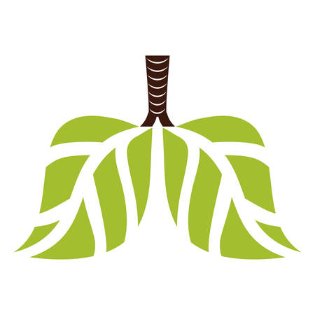 Green lungs branches with leaves image, vector illustration Illustration