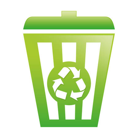 dumpster: Green recycleng basket image design, vector illustration