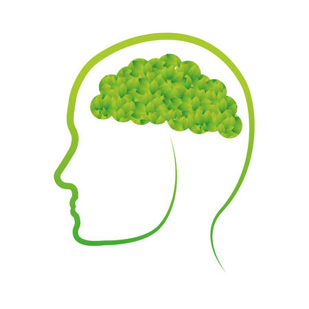 conscious: Green conscious brain icon design, vector illustration image Illustration