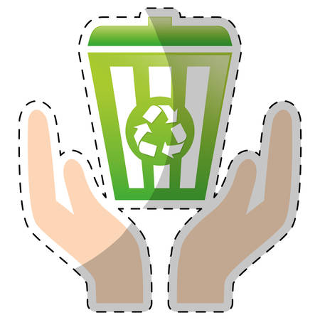 Lime green recycleng basket with hands, vector illustration image