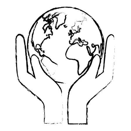 conservancy: Silhouette world nature conservancy icon, vector illustration