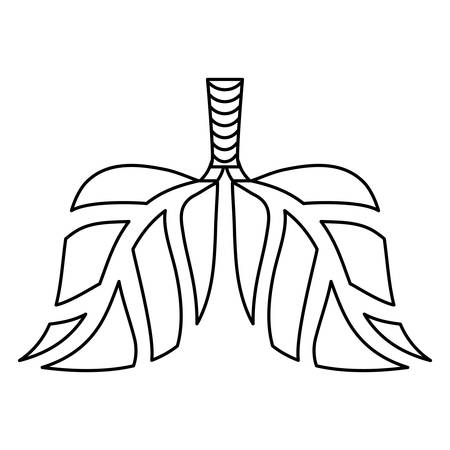 Contour lungs branches with leaves image, vector illustration