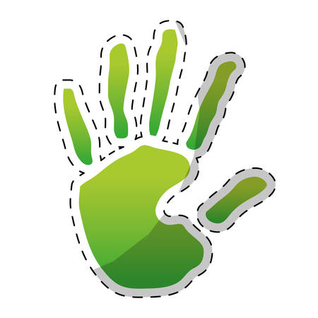 hand holding globe: Green hand design icon image, vector illustration