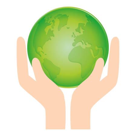 Verde icono de conservación de naturaleza del mundo, ilustración vectorial Foto de archivo - 70283236