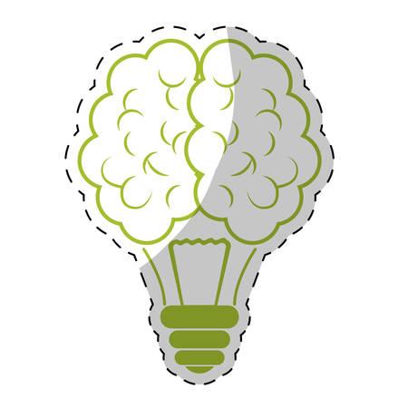Green bulb brain icon design, vector illustration image
