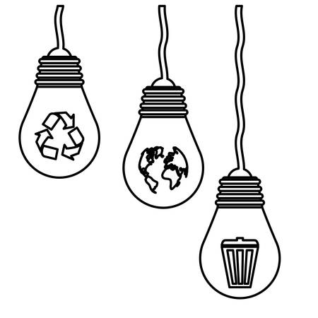 Contour planet care bulbs image design, vector illustration