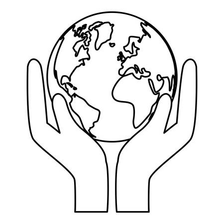conservancy: Contour world nature conservancy icon, vector illustration