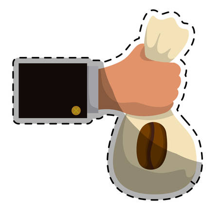 Beige coffee sack in the hand icon, vector illustration image Illustration